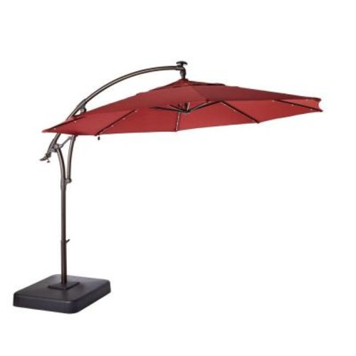 Hampton Bay 11 ft. LED Round Offset Patio Umbrella in Red