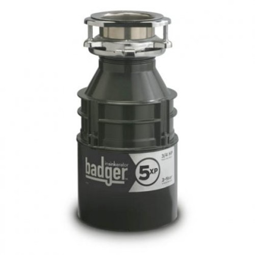 Badger Series BADGER5XP 3/4 HP Continuous Feed Waste Disposer with 1725 RPM Dura-Drive Induction Motor Rugged Galvanized Steel