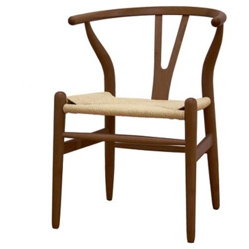 Baxton Studio Wishbone Chair - Dark Brown Wood Y Chair