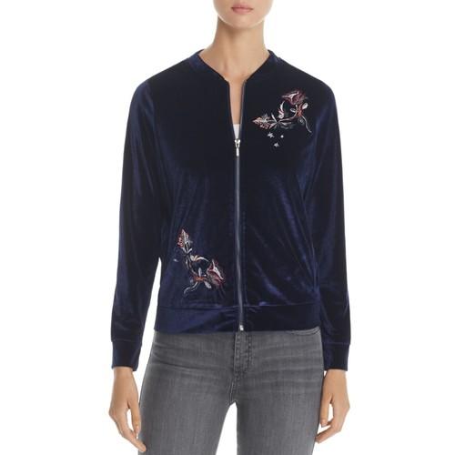 Floral Embroidered Velvet Bomber Jacket