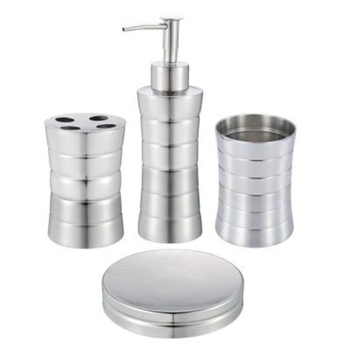 Hopeful 4-Piece Stainless Steel Bath Accessory Set in Matte and Shiny