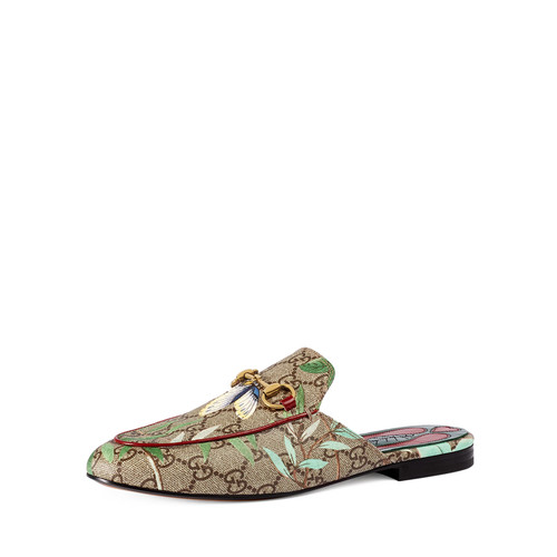 GUCCI Princetown Gg Canvas Horsebit Mule Slipper Flat, Multi