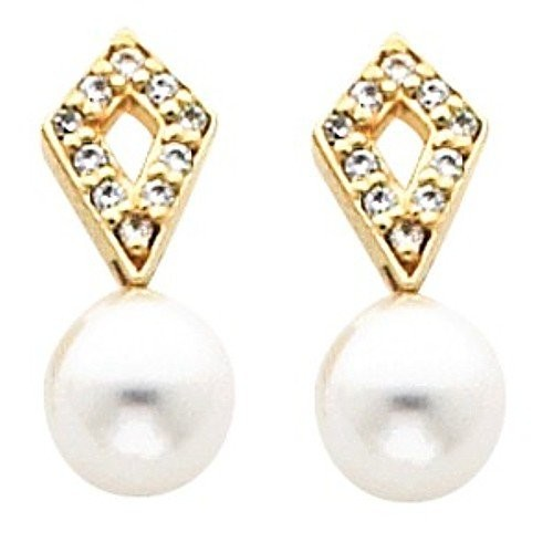 Pair of 18K Yellow Gold White Akoya Cultured Pearl and Diamond Earrings -- LIFETIME WARRANTY