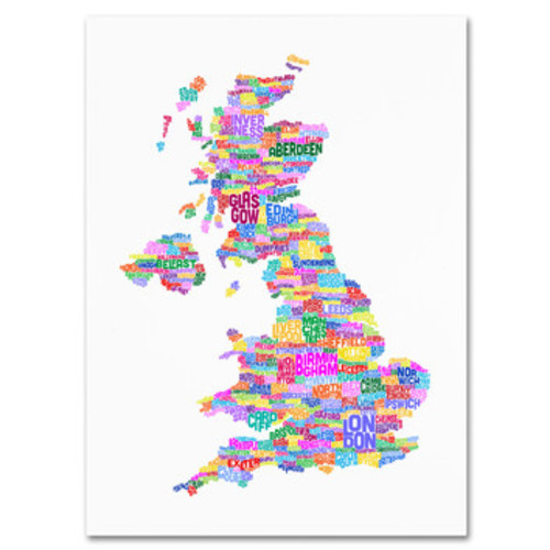 'UK Cities Text Map 3' by Michael Tompsett Framed Textual Art on Wrapped Canvas