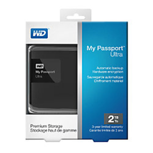 WD My Passport Ultra 2TB Portable External Hard Drive, USB 3.0/2.0, Black