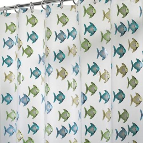 InterDesign PEVA Fishy Shower Curtain in Blue/Green
