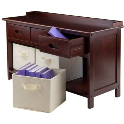 Adriana Storage Bench with 3 Baskets, Walnut, Multiple Colors