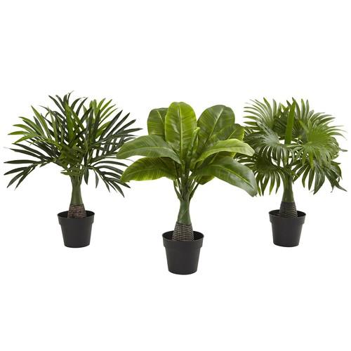 Nearly Natural Areca, Fountain and Banana Palm Silk Plant - Set of 3