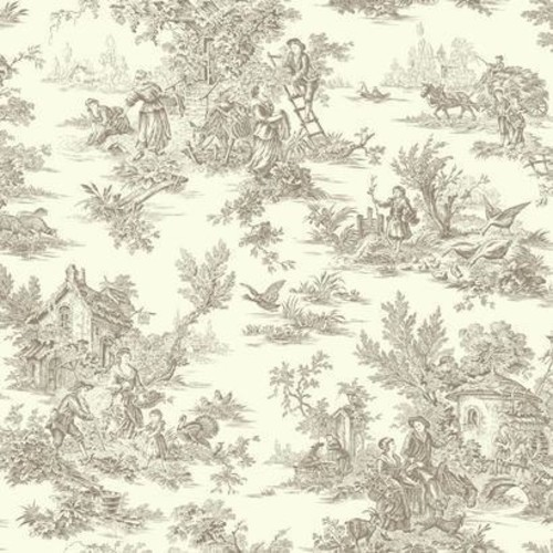 Sample Campagne Toile Wallpaper in Soft Grey by Ashford House for York Wallcoverings