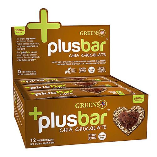 Greens Plus +plusbar Chia Chocolate -- 12 Bars