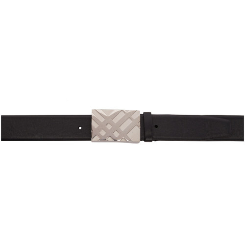 BURBERRY Black London Leather Collection Belt