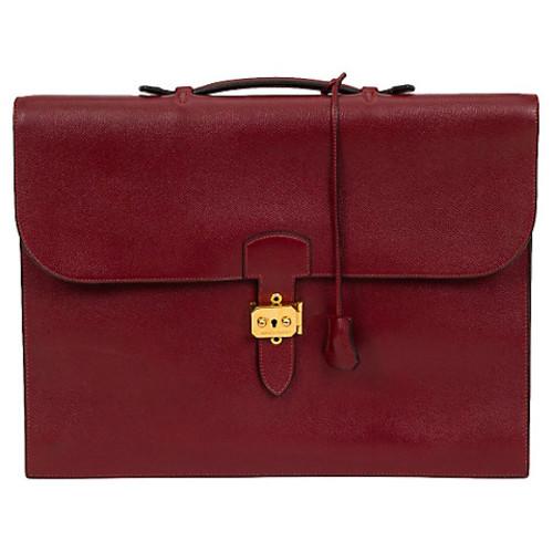 Hermes Burgundy Epsom Briefcase, 1996