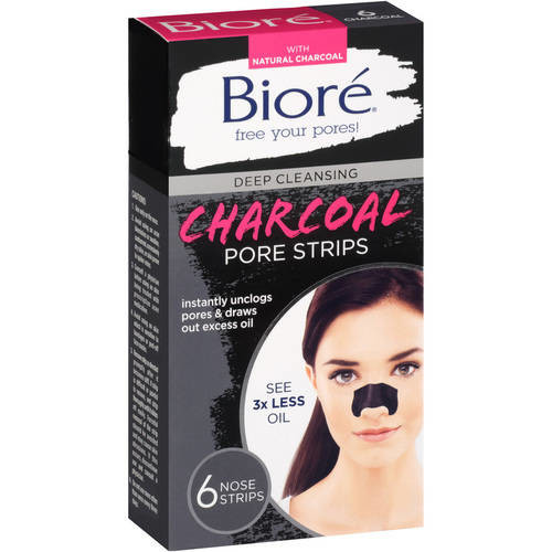 Biore Deep Cleansing Charcoal Pore Strips, 6 Ct