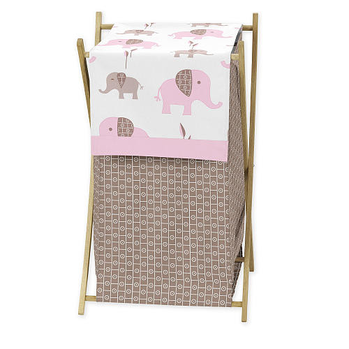 Sweet Jojo Designs Pink and Taupe Mod Elephant Collection Laundry Hamper