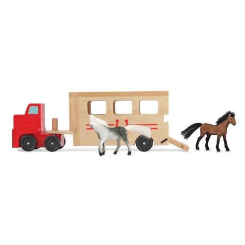 Melissa & Doug Horse Carrier Wooden Vehicle Play Set With 2 Flocked Horses and Pull-Down Ramp [Standard]