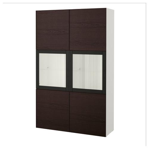 BEST Storage combination w/glass doors, white Hallstavik, blue-green clear glass