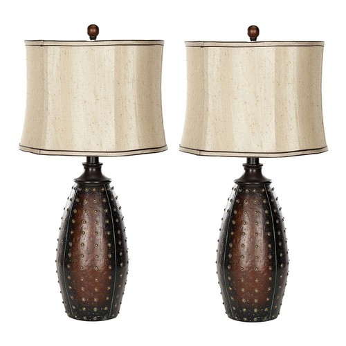Safavieh 2-piece Santa Fe Faux Leather Table Lamp Set