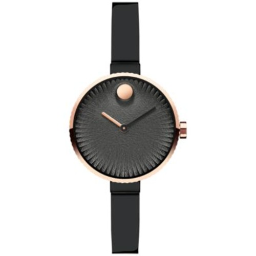 Movado Women's Swiss Edge Black Stainless Steel Bangle Bracelet Watch 28mm 3680025