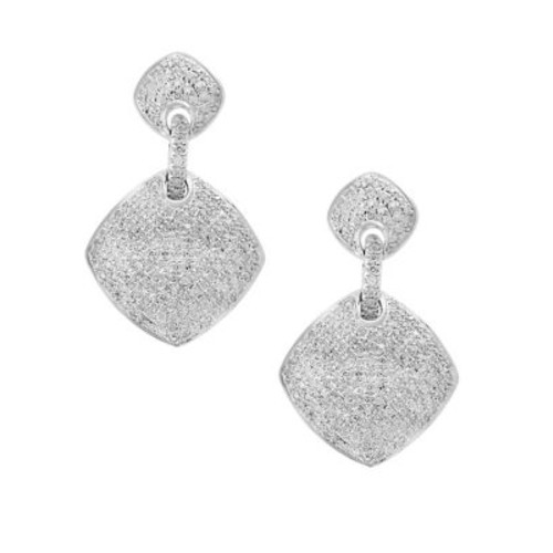 Diamond and Silver Drop Earrings