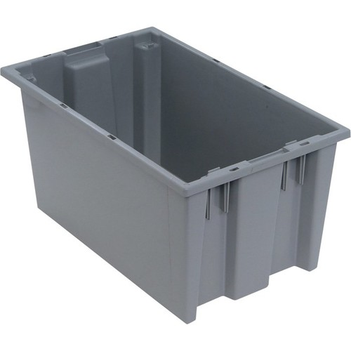 Quantum Storage Stack and Nest Tote Bin  18in. x 11in. x 9in. Size, Gray, Carton of 6