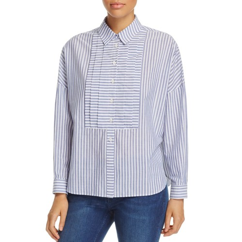BURBERRY Posy Stripe Button-Down Blouse