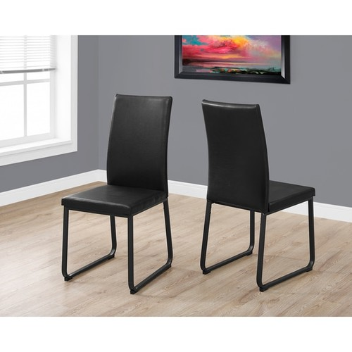 Black Faux-leather/Metal Contemporary Dining Chairs (Set of 2)
