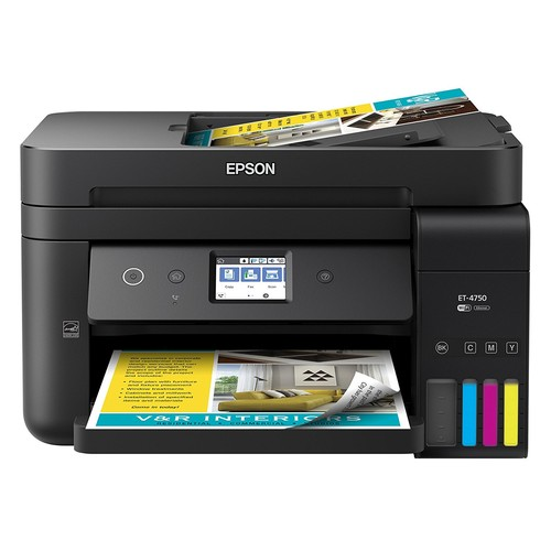 Epson WorkForce ET-4750 EcoTank Wireless Color All-in-One Supertank Printer with Scanner, Copier, Fax and Ethernet [Printer]