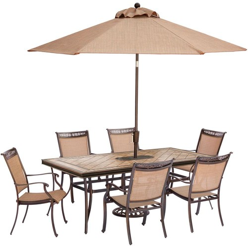 Hanover Fontana 7-Piece Aluminum Rectangular Outdoor Dining Set with Tile-Top Table, Umbrella and Base