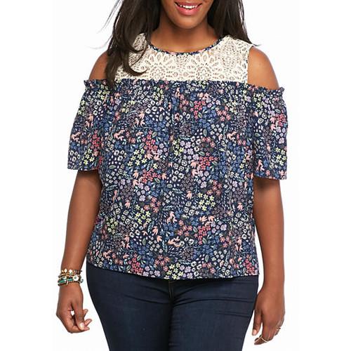 Jolt Plus Size Lace Floral Cold Shoulder Top