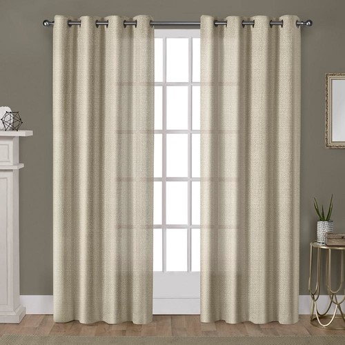 Winfield Gold Heavyweight Metallic Sheen Treatment Basketweave Grommet Top Window Curtain