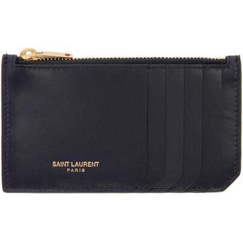 SAINT LAURENT Navy Leather Zippered Card Holder
