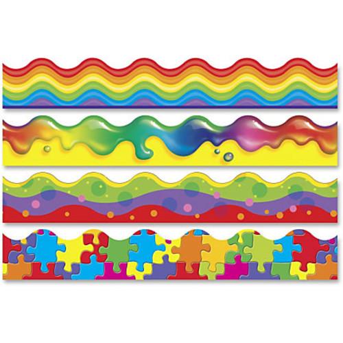 Trend Color Blast Bolder Borders Variety Pack - Jigsaw, Rainbow Gel, Wavy Bubbles, Rainbow Promise - 1872