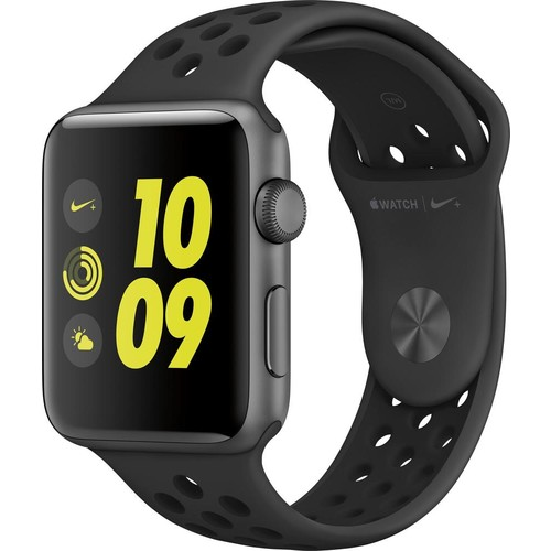 Apple - Apple Watch Nike+ 42mm Space Gray Aluminum Case Anthracite/Black Nike Sport Band - Space Gray Aluminum