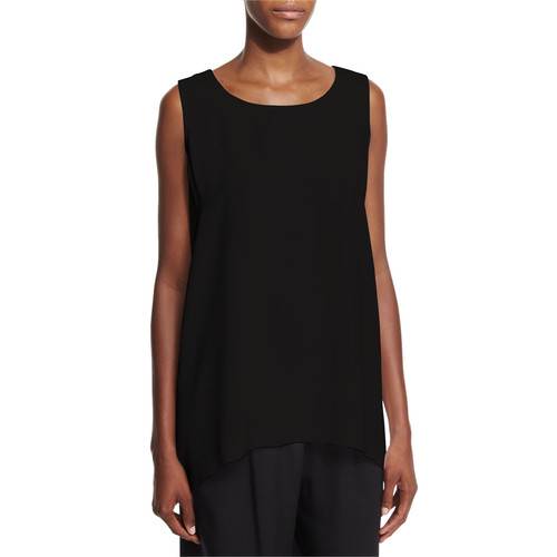 ESKANDAR Sleeveless Silk A-Line Shell, Black