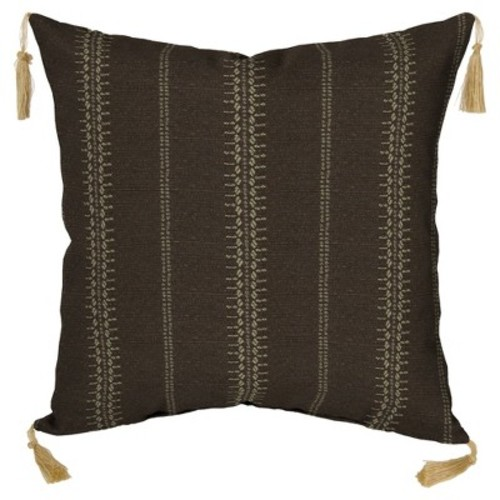 Trevor Stripe Espresso 2pc Outdoor Toss Pillow Set w/ Tassels - Brown - Bombay Outdoors