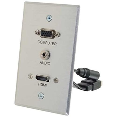 C2G-RapidRun VGA + 3.5mm Single Gang Wall Plate + HDMI Pass Through - Aluminum