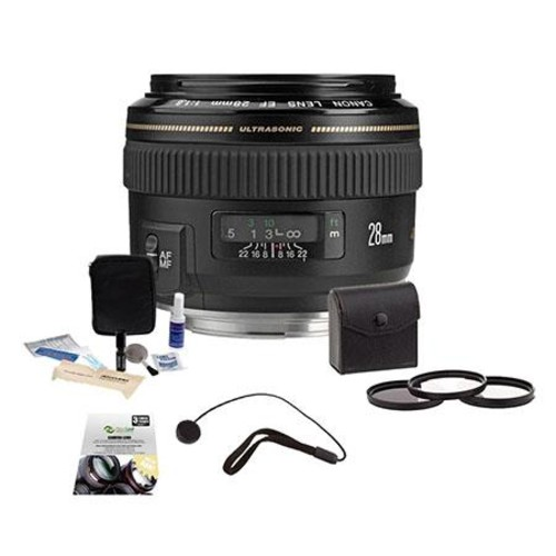 Canon EF 28mm f/1.8 USM Lens/Filter Warranty Bundle, USA 2510A003 B