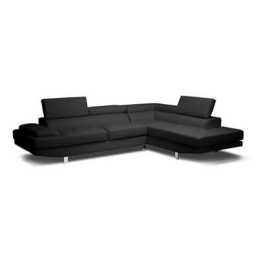 Baxton Studio Selma Sectional Leather Sofa in White