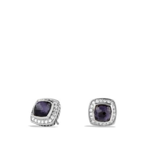 Petite Albion Earrings with Black Orchid & Diamonds