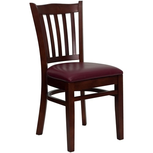 Flash Furniture Hercules Series Mahogany Finished Vertical Slat Back Wooden Restaurant Chair - Burgundy Vinyl Seat