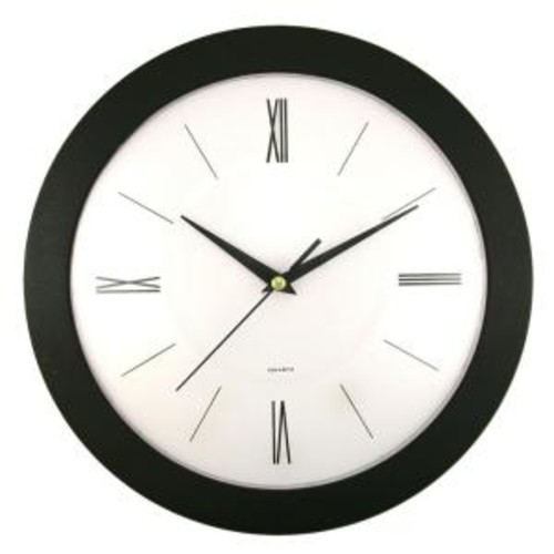 Timekeeper Products 12 in. Round Black Frame White Dial Wall Clock