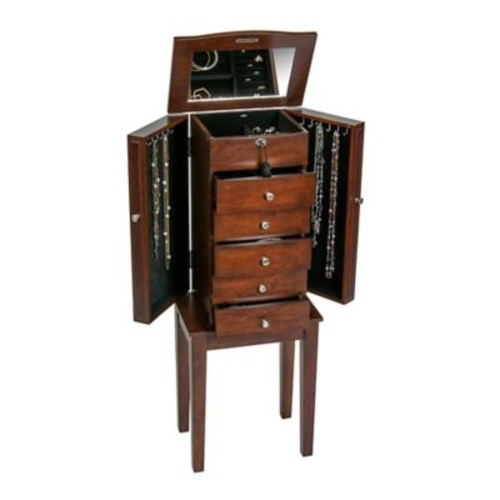 Mele & Co. Westfield Wooden Jewelry Armoire in Walnut Finish