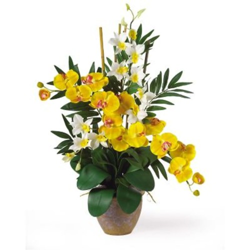 Nearly Natural 1071-YC Phal Dendrobium Floral Arrangements, Yellow
