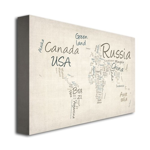 Typography World Map by Michael Tompsett, 16x24-Inch Canvas Wall Art [16 by 24-Inch]
