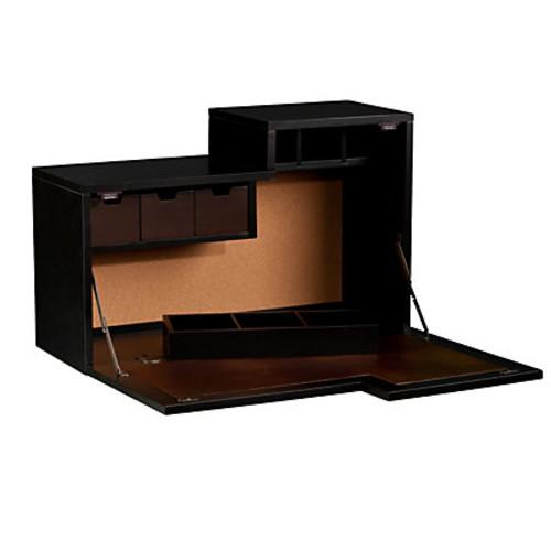 Southern Enterprises Dover Wall Mount Desk, Black/Chocolate Brown