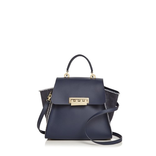 ZAC ZAC POSEN Eartha Iconic Denim Panel Top Handle Leather Satchel
