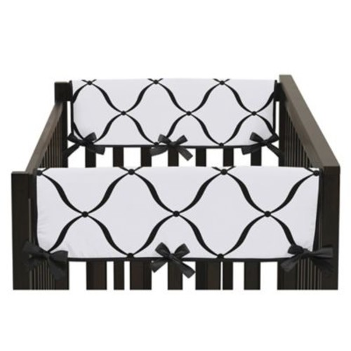 Sweet Jojo Designs Princess Side Crib Rail Covers in Black/White(Set of 2)