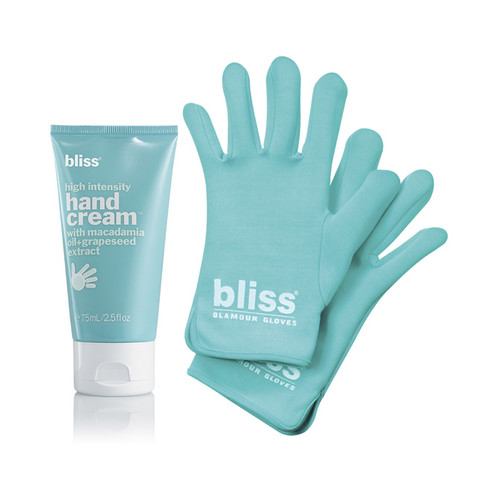 bliss glamour gloves + high intensity hand cream set
