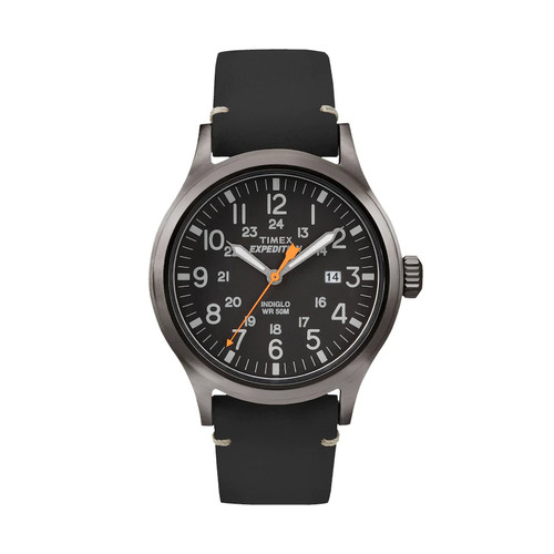 Timex Men's Expedition Scout Watch, Black Leather Strap