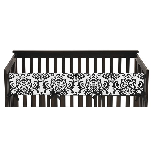 Sweet Jojo Designs Long Crib Rail Guard Cover for Hot Pink, Black and White Isabella Collection by - Damask Print